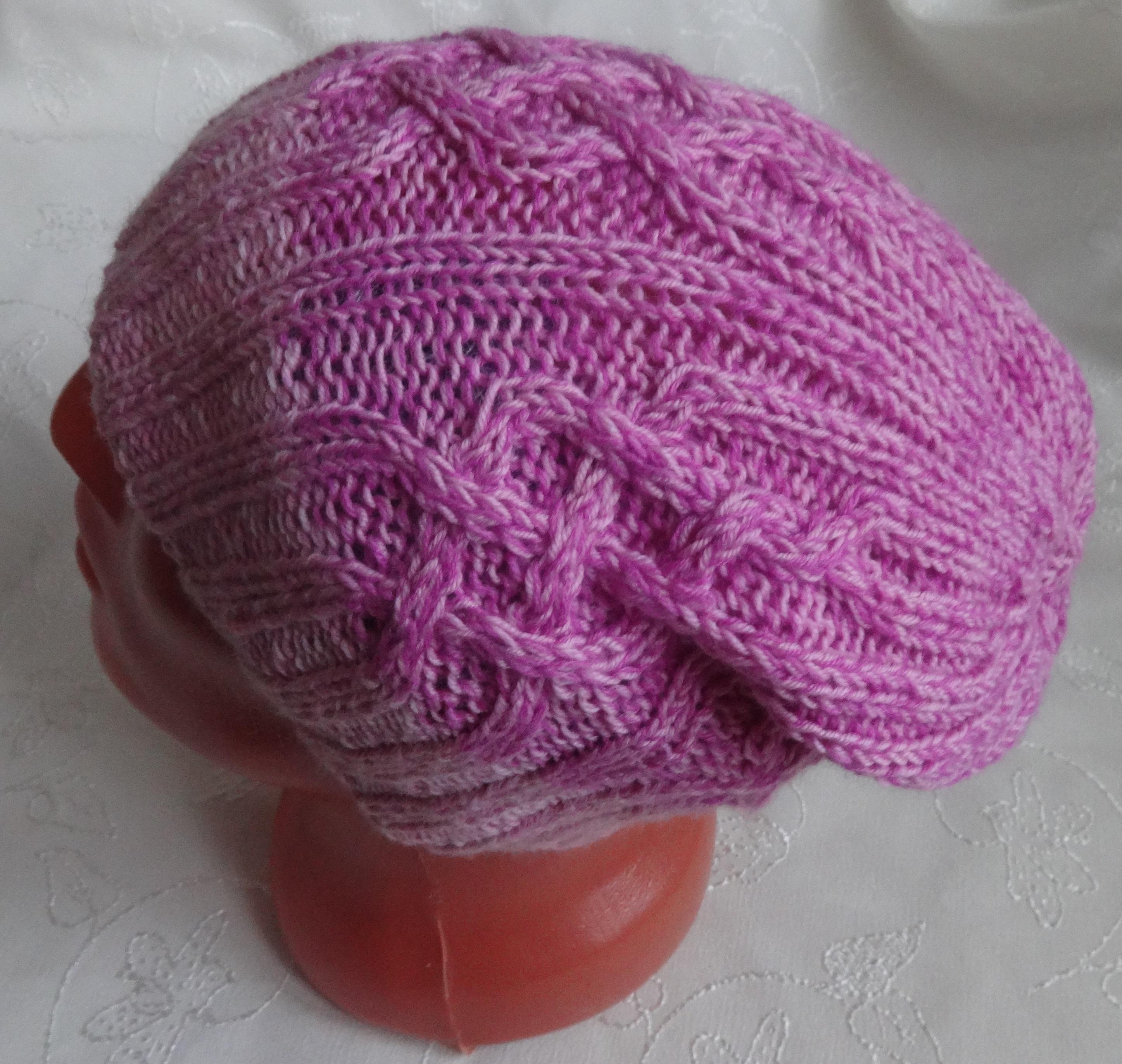 шапка бини аранами спицами