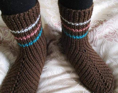 носки вязанные спицами с узором