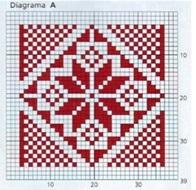 плед спицами схема квадрата А