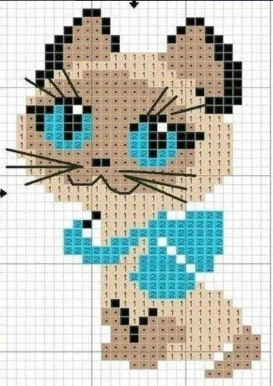 варежки детские схема кошка