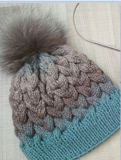 шапка с косами спицами