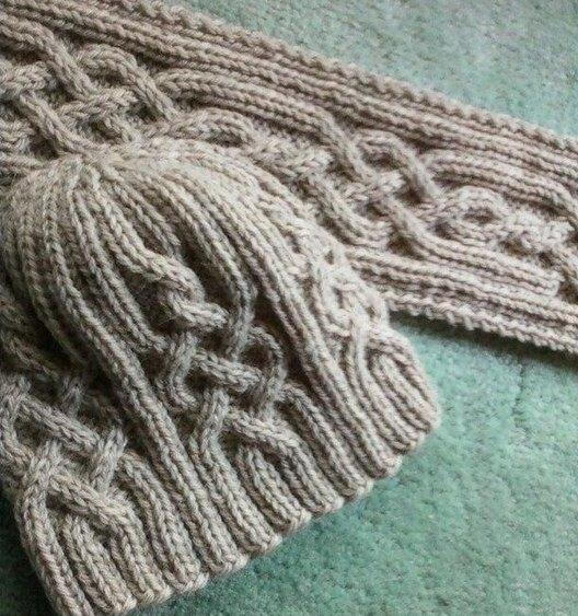 шапка с аранами и шарф