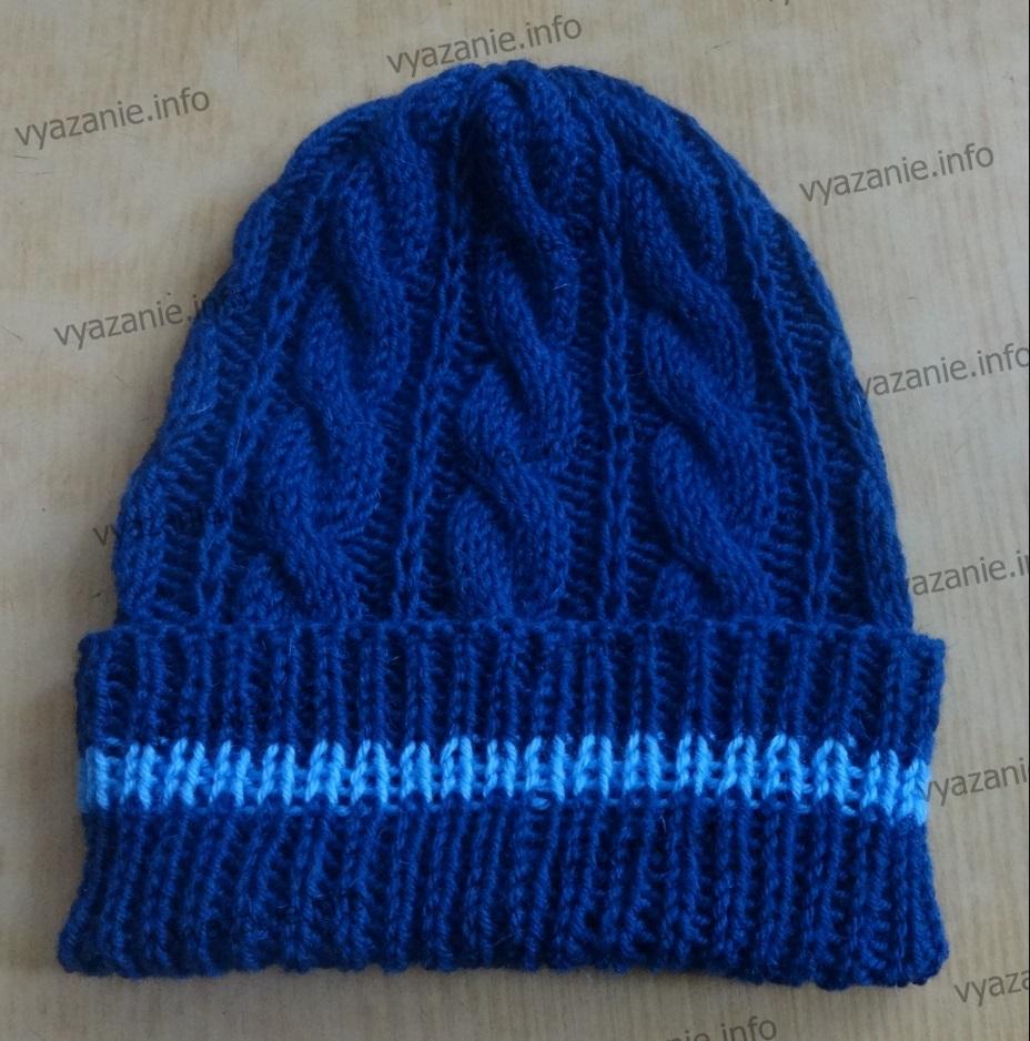 шапка мужская спицами фото