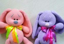 игрушки крючком зайцы
