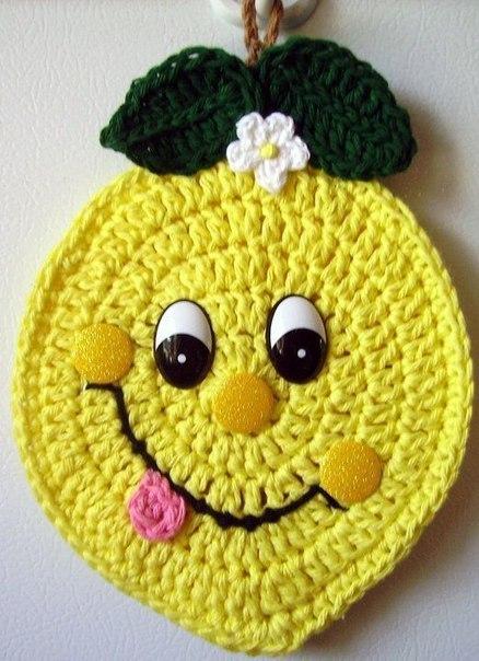 прихватки крючком лимон
