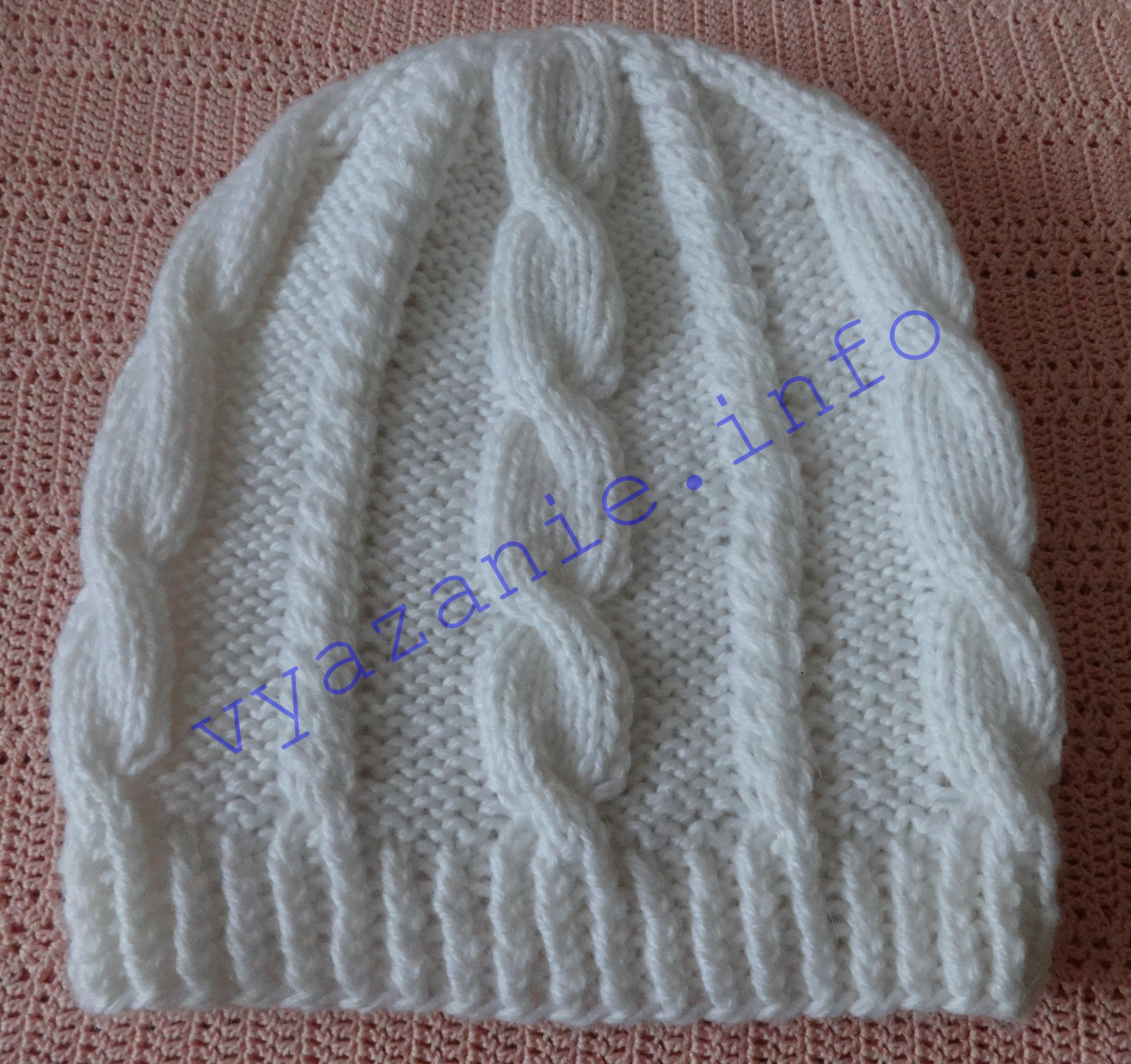 шапка связанная косами фото