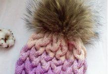 шапка косами вяжем спицами