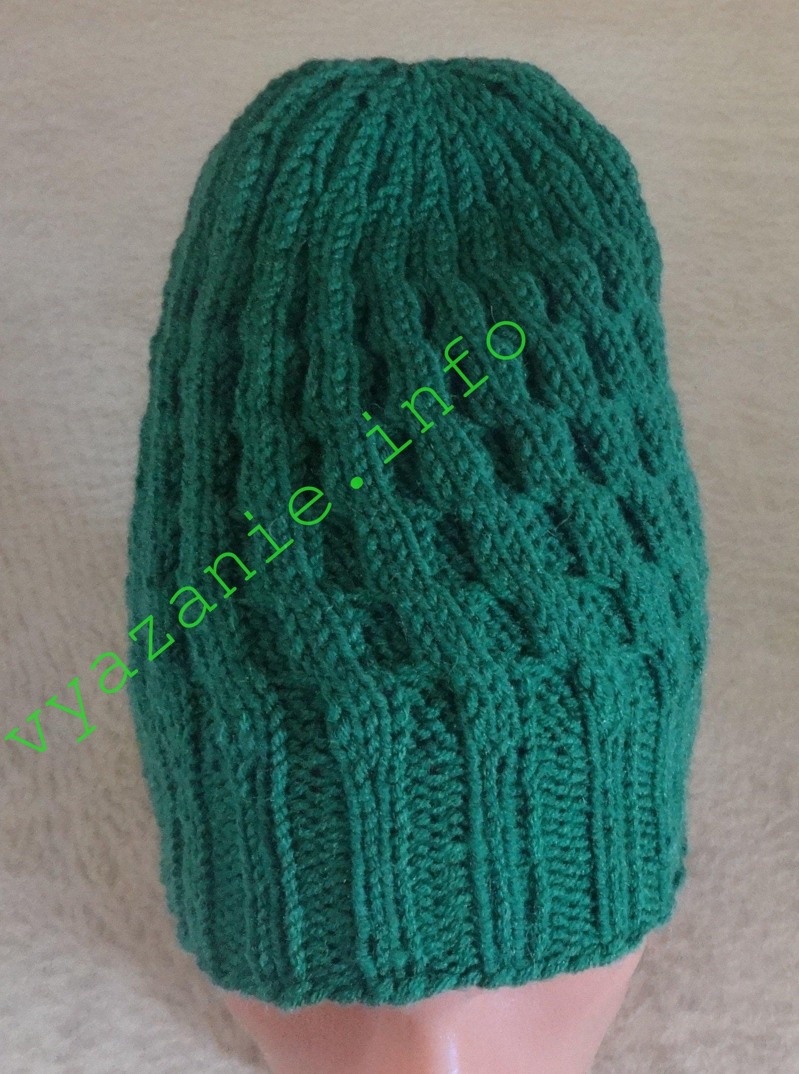 шапка бини спицами для женщин