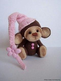 игрушка крючком фото обезьяна
