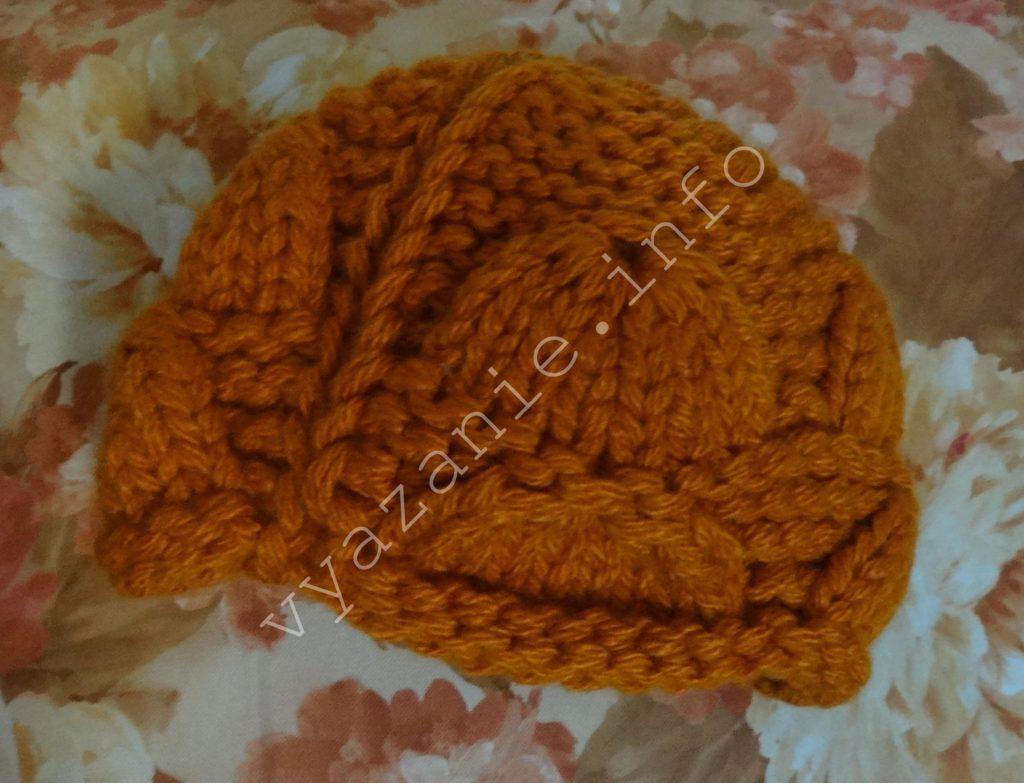 женская шапка крупной вязкой задний шов фото