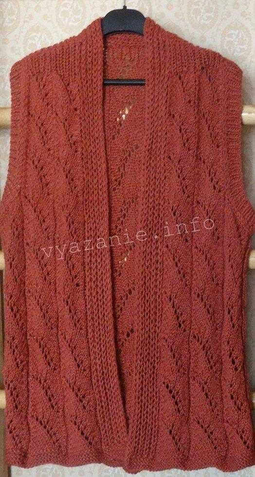 длинный вязаный жилет спицами для женщин крупного размера