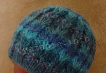 шапка узором колоски спицами
