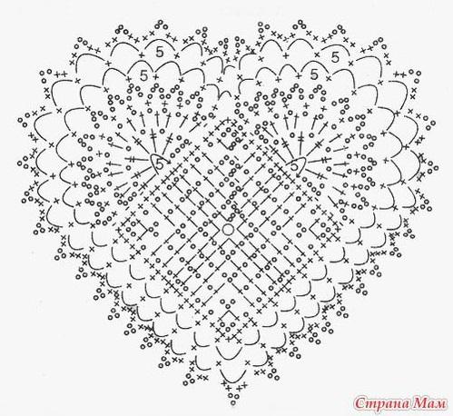 красивое вязаное сердечко схема