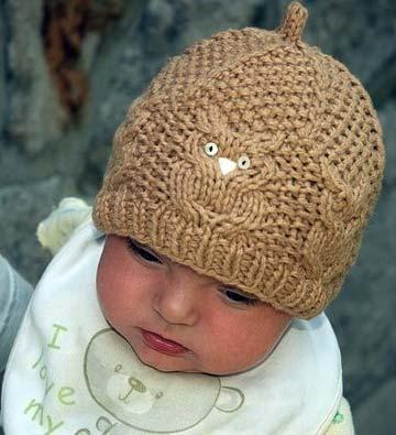 детская шапка с совами спицами