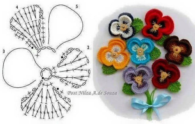 цветы крючком анютины глазки