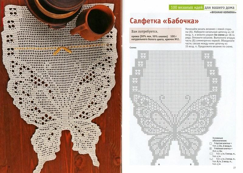 салфетка крючком бабочки