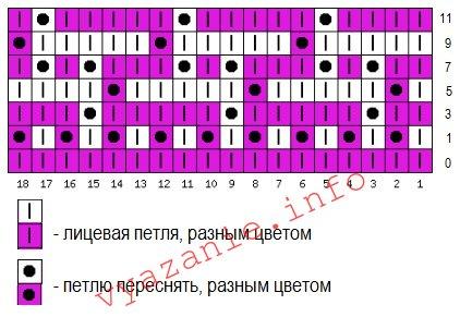 двухцветные узоры схема узора