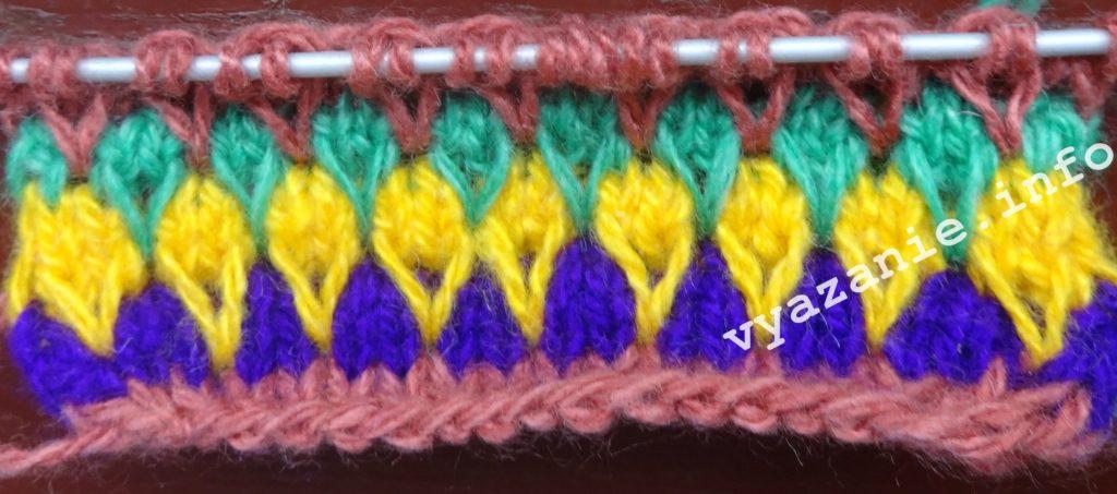 узоры спицами разноцветные