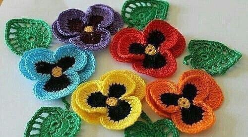 цветы анютины глазки крючком