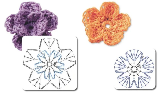 цветы крючком со схемами