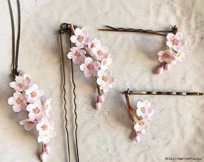мелкие цветы подвески крючком
