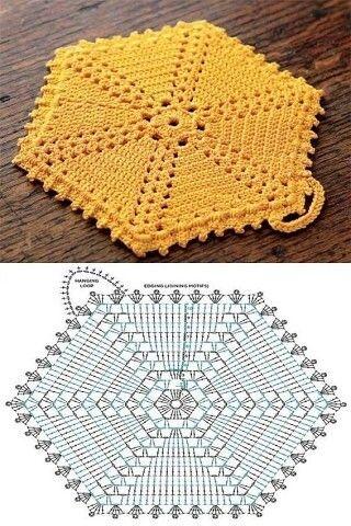 шестиугольные прихватки крючком