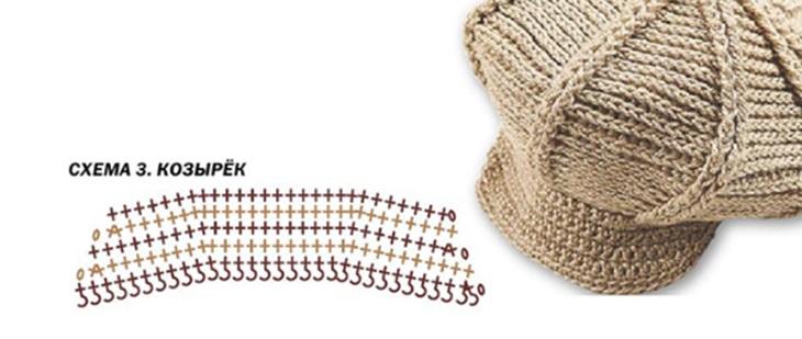 кепка крючком схема вязания