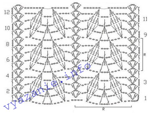 схема вязания косынки крючком