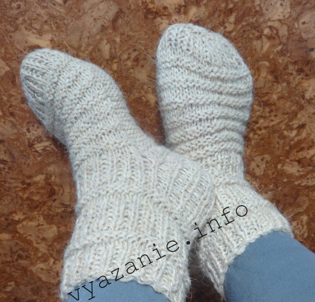 носки связанные на спицах