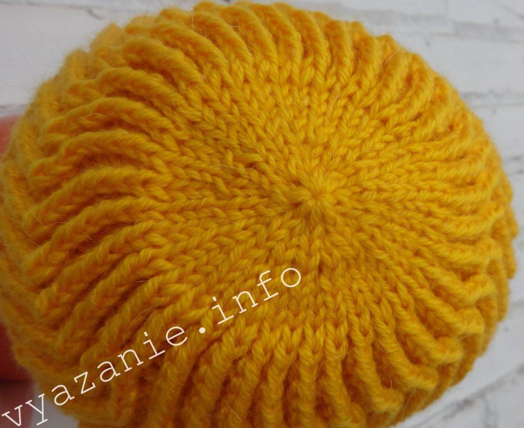 шапка спицами макушка