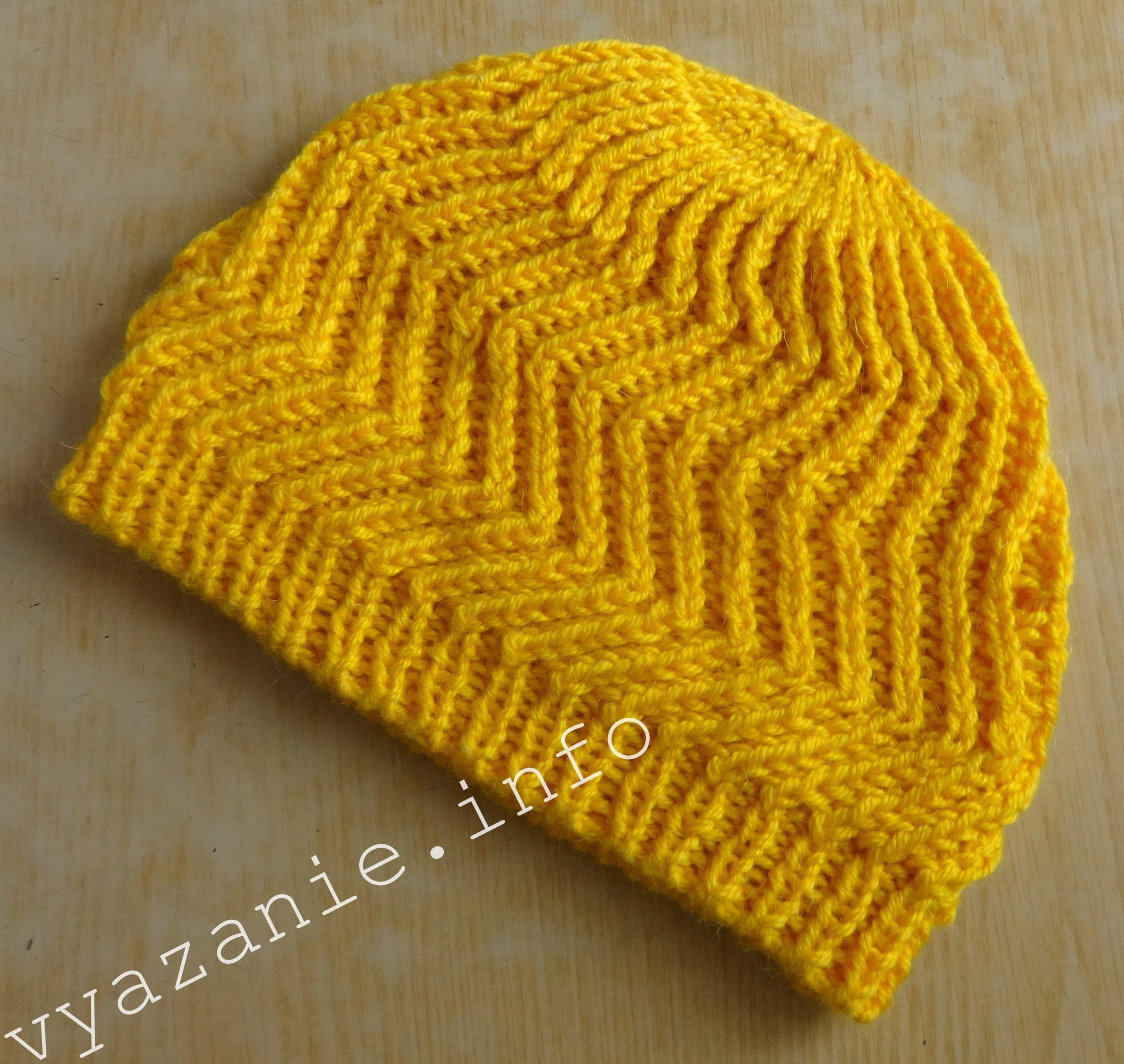 красивая шапка связанная спицами