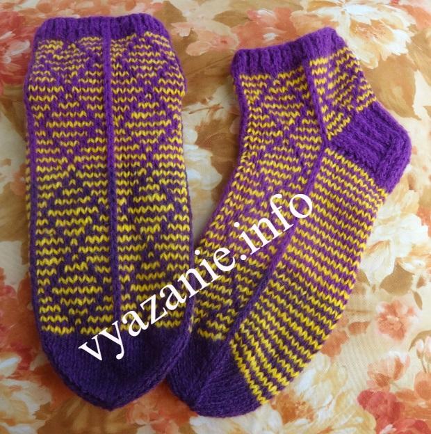вязаные носки на 5 спицах