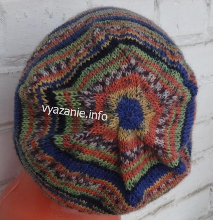как вязать макушку шапки бини